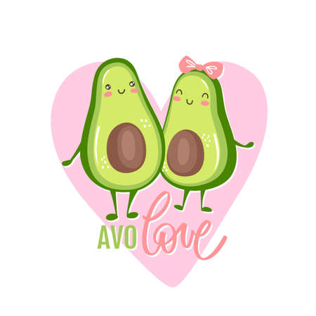 Cute avocado couple in love. Two avocado halves hugging, heart and lettering quote AVOLOVE.