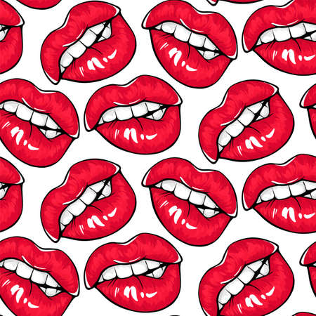Sexy red lips seamless pattern. Female mouth with red lipstick, bite ones lip. Illustration