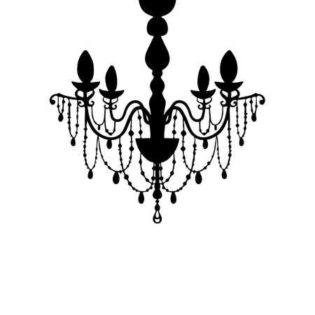 Vector chandelier silhouette isolated on white background. Vintage classic design