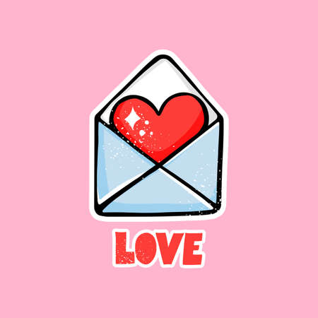Cute vector envelope with red heart letter. Cartoon Happy Valentines Day illustration. Love lettering.