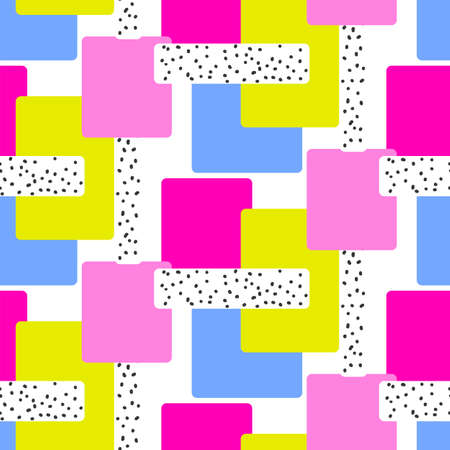 Abstract creative seamless pattern with bright neon shapes. Vector vibrant texture with geometric figures. Modern colorful repetitive print. Contemporary background.