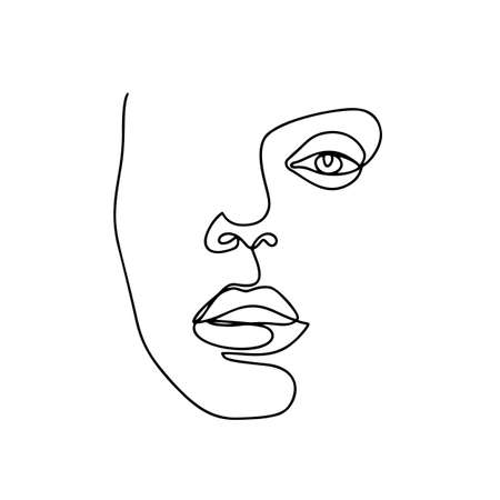 Continuous line drawing. Abstract woman portrait. One line face art vector illustration. Female linear contour isolated on white. Ilustração