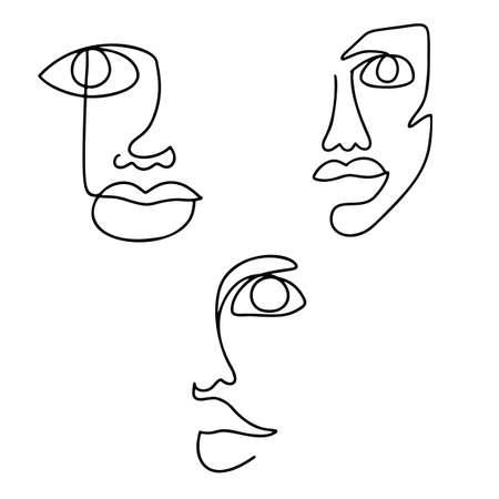 Continuous line drawing set. Abstract woman portrait. One line face art vector illustration. Female linear contour isolated on white.