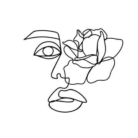 Continuous line drawing. Abstract woman portrait with flower. One line face art vector illustration. Female linear contour isolated on white. Ilustração