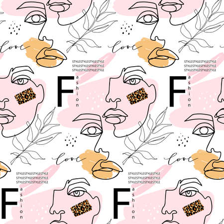 Abstract one line seamless pattern. Continuous Outline background with female faces. Modern Woman aesthetic contour. Fashion print. Surreal texture. Ilustração