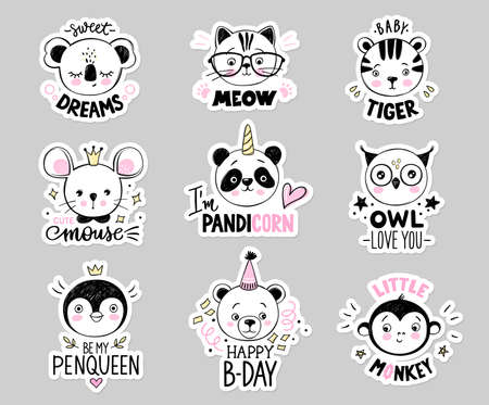 Doodle animals vector set. Owl, cat with glasses, baby tiger, panda unicorn, bear, monkey, princess mouse, penguin queen, koala faces in sketch style.