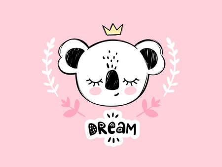 Cute koala bear illustration. Doodle cartoon sleeping animal card. Dream lettering. Hand drawn nursery, naive art. Kawaii design