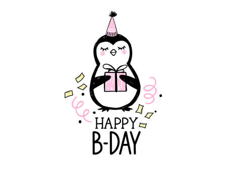 Happy Birthday greeting card with cute penguin, gift box and hand draw lettering inscription. Doodle cute animal illustration. Ilustração
