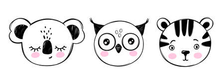 Doodle animals head vector set. Owl, koala bear, tiger faces in sketch style. Hand drawn cute childrens illustrations