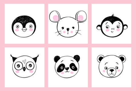 Doodle animals head vector set. Owl, panda, bear, monkey, mouse, penguin faces in sketch style. Funny faces. Cute childrens illustrations