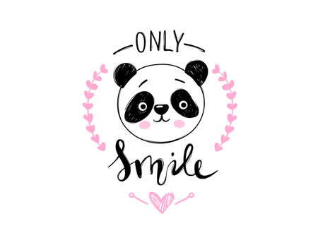 Cute vector panda bear print in doodle style. Hand drawn cartoon animal illustration. Only smile positive lettering quote.