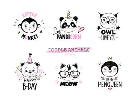 Doodle animals vector set. Owl, cat with glasses, panda unicorn, bear, little monkey, penguin queen faces Ilustração