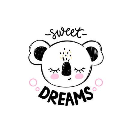 Cute koala bear illustration. Doodle cartoon sleeping animal card. Sweet Dreams lettering.