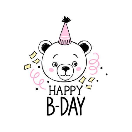 Happy Birthday greeting card with cute teddy bear. Funny animal character. Hand drawn naive art. Kawaii design
