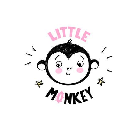 Cute little monkey head illustration in doodle style. Hand drawn cartoon animal print Ilustração