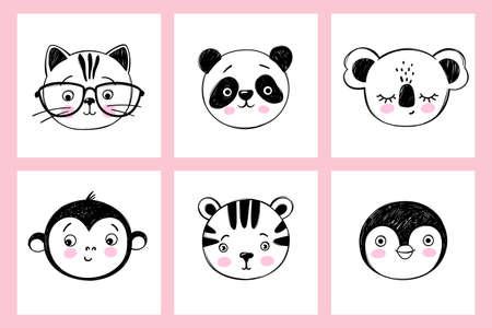 Doodle animals head vector set. Cat with glasses, cute tiger, panda, funny monkey, penguin, sleeping koala faces