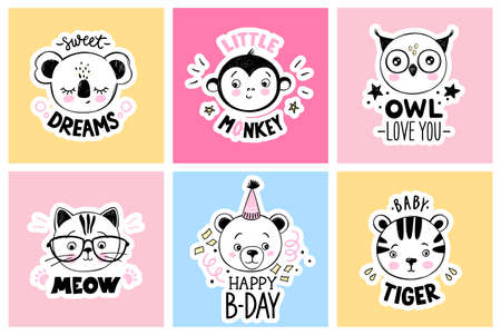 Vector set with cartoon doodle animals - sleeping koala, cute owl, cat with glasses, little monkey, baby tiger, teddy bear. Funny puns, quotes.
