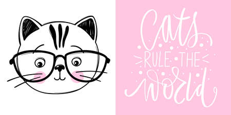 Cat with glasses vector illustration. Hand drawn Stylish kitten. Doodle Kitty. Cartoon animal isolated on white.