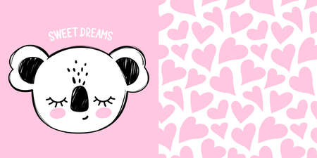 Cute koala bear vector illustration. Doodle cartoon sleeping animal card. Sweet Dreams lettering.