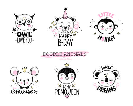 Doodle animals vector set. Owl, bear, monkey, mouse, penguin, koala faces in sketch style. Funny quotes. Hand drawn cute childrens illustrations