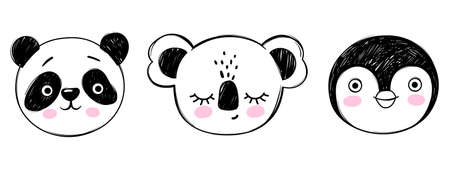 Doodle animals head vector set. Panda, koala, penguin faces in sketch style. Hand drawn cute childrens illustrations