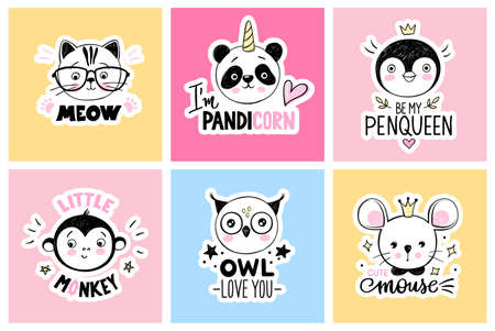 Vector set with cartoon doodle animals - panda, cat, cat, monkey, owl, mouse, penguin. Funny quotes. Bright cards collection.