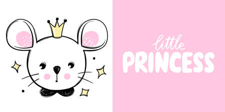 Cute mouse princess with crown isolated on white. Mice illustration. Doodle animal face. Vector character. Hand drawn cartoon Rodent.