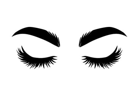 Brows and lashes vector illustration. Beautiful Eyelashes. For beauty salon, lash extensions maker, brow master. Closed eyes Vector Illustratie