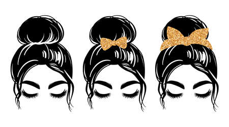 Messy bun with golden glitter bandana or headwrap and hair bow. Vector woman silhouette. Beautiful girl drawing illustration. Female hairstyle.