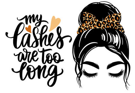 Messy hair bun with leopard bandana, vector woman silhouette. Beautiful girl drawing illustration and fashion quote Ilustração