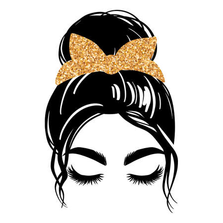 Messy bun with golden glitter bandana or headwrap. Vector woman silhouette. Beautiful girl drawing illustration. Female hairstyle. Ilustração
