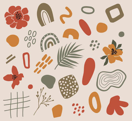 Abstract modern shapes - tropical flowers, palm leaf, doodle objects. Contemporary trendy geometric elements