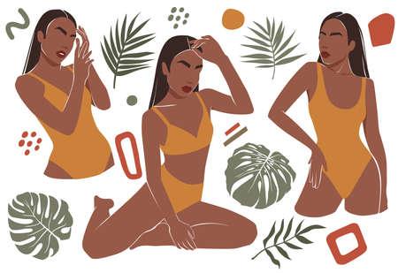Female shape, abstract woman body in swimsuit illustration . Contemporary art. Women in bikini, trendy fashion set.