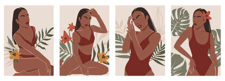Vector modern art posters with female body, woman in swimsuit, contemporary shapes, tropical leaf, abstract elements. Trendy illustrations