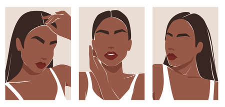 Modern young woman portraits, contemporary female shapes. Trendy fashion illustrations, abstract minimalist style.