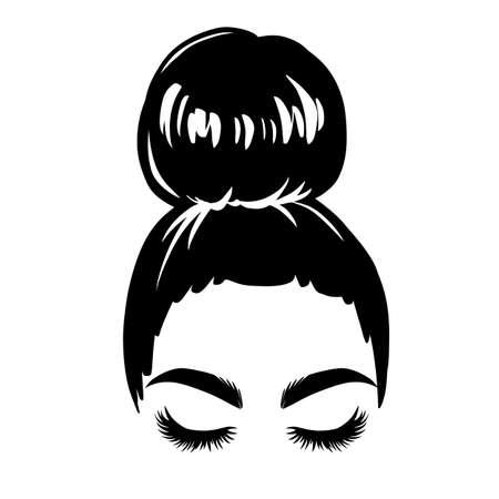 Messy hair bun, vector woman silhouette. Beautiful girl drawing illustration. Female hairstyle. Vecteurs