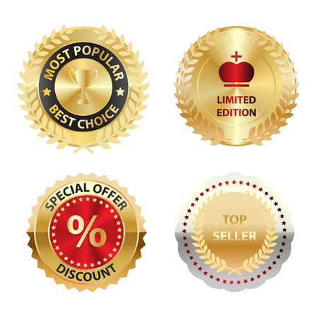 Vector Colored Golden Labels for Your Projects Vector