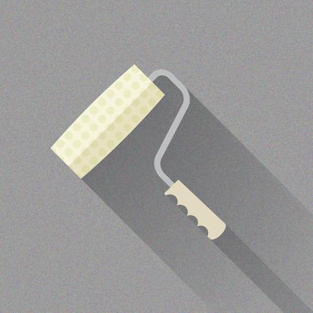 roller brush: Paint Brush Roller, ilustraci�n vectorial plana para sus proyectos Vectores