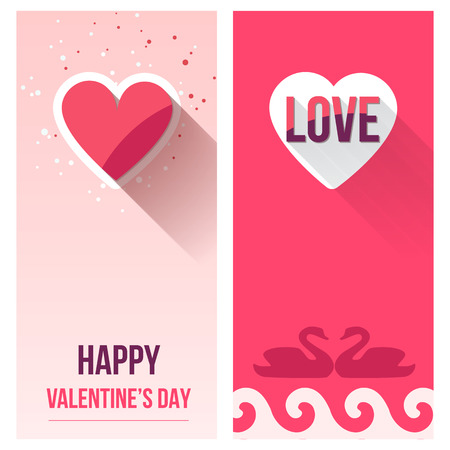 Valentine Day Love Banner Set, Flat Vector Illustration for Your Projects Vector