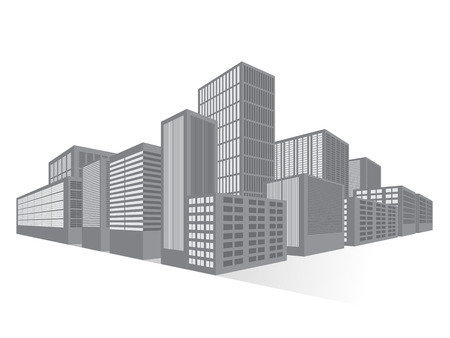 business district: City Downtown Business District, Vector Flat Illustration for Your Projects
