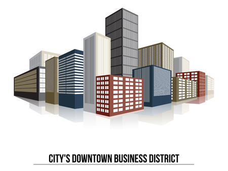 downtown district: City Downtown Business District, Vector Flat Illustration for Your Projects
