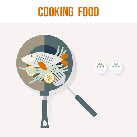 plato de pescado: Cocinar Tarjeta de la receta de pescado Cocina, Ilustraci�n plana del vector para sus proyectos Vectores