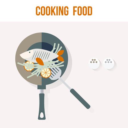 Koken Fish Kitchen Kaart van het recept, Flatscreen Vector Illustratie voor uw projecten
