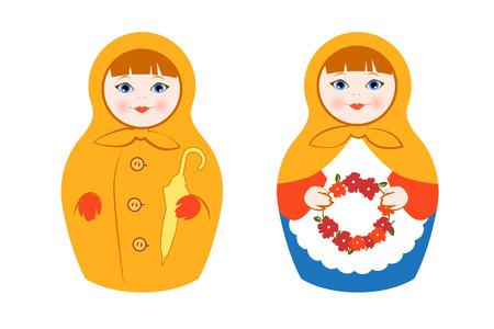 matreshka: Isolated Russian Matryoshka Flat Vector Illustration Set for your Projects