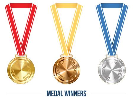 Olympic Medaille mit Band Set, Vektor-Illustration für Ihre Projekte
