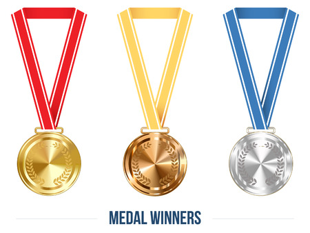 gold silver bronze: sports competition Medal with Ribbon Set, Vector Illustration for Your Projects