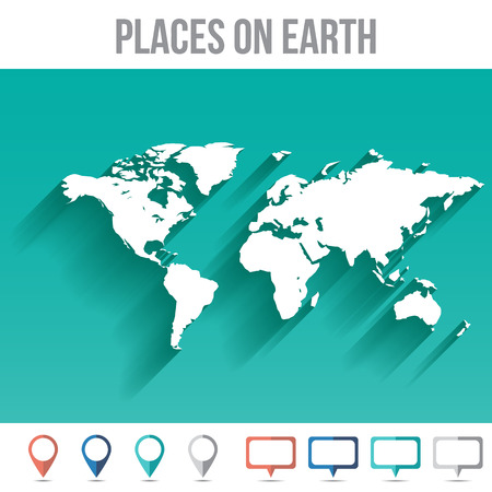 Places on Earth World Map, Flat Vector Illustration for Your Projects