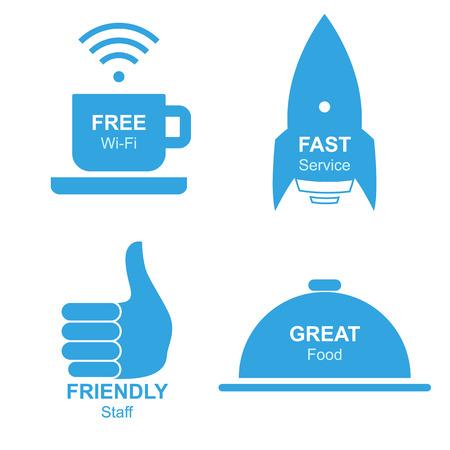 trato amable: Restaurante aislada Informativo conjunto de stickers, ilustraci�n vectorial para sus proyectos