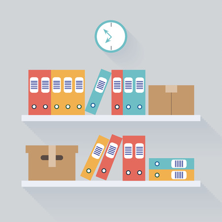 dossier: Shelf Archive Storage Background, Flat Trendy Vector Illustration for Your Projects Illustration