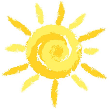 Isoliert Cute Crayon Sun, Vektor Bild für Ihre Projekte Vektorgrafik